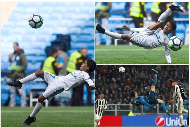 Photo of Cristiano Ronaldo's Son Attempts Overhead Kick After Madrid Derby (Photo)