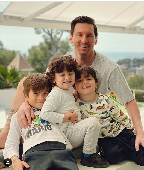 Lionel Messi and His Three Sons